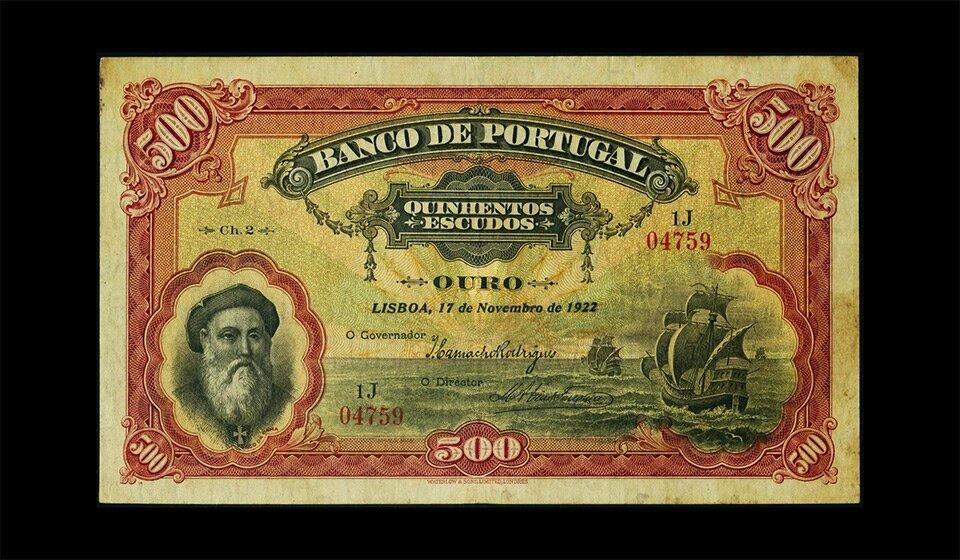 Купюра номиналом 500 португальских эскудо, 1922 год