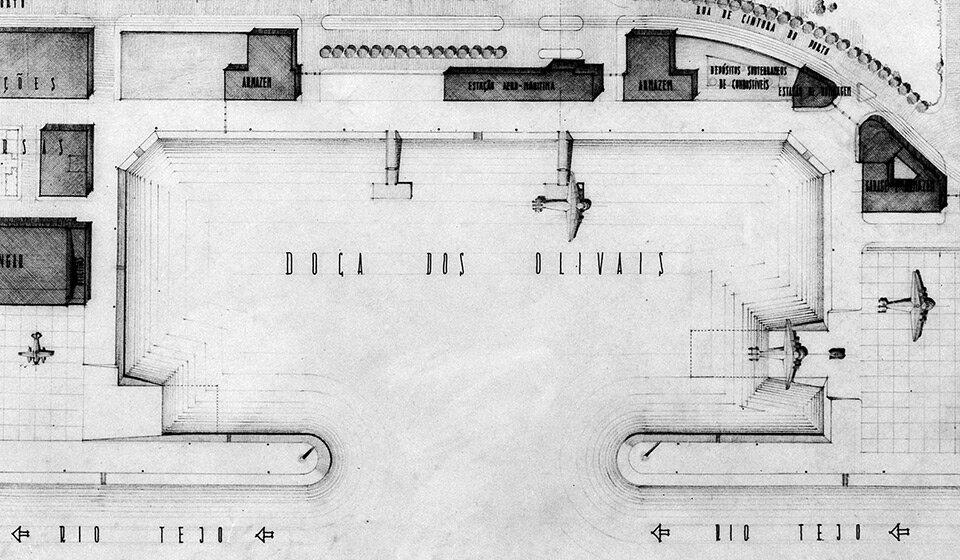 План Aeroporto Marítimo de Cabo Ruivo, 1940-е года. Фото Mário Novais
