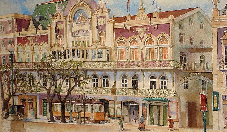 Старое здание Teatro Eden, акварель, Vanessa Azevedo