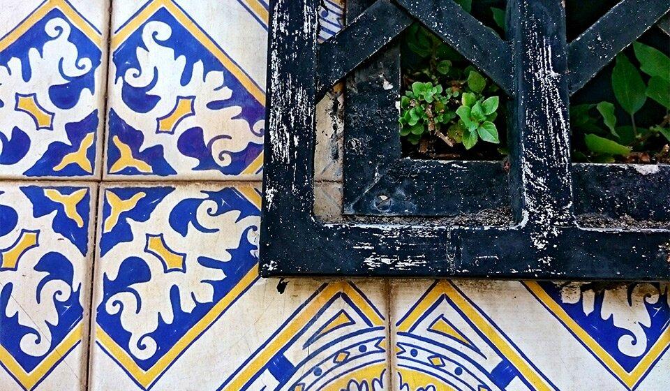 Плитка azulejo крупным планом